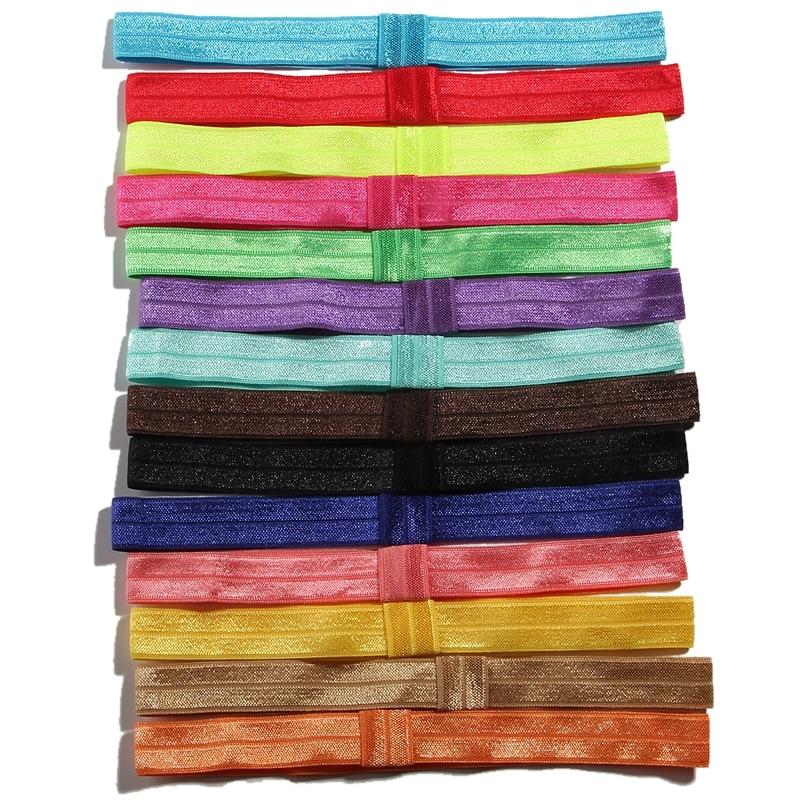 10PCS 20 Colors 1.5CM Width Fashion Nylon Headband Nylon Hair Tie For Girls Kid Hair Accessories FOE Ribbon Elastic Bands