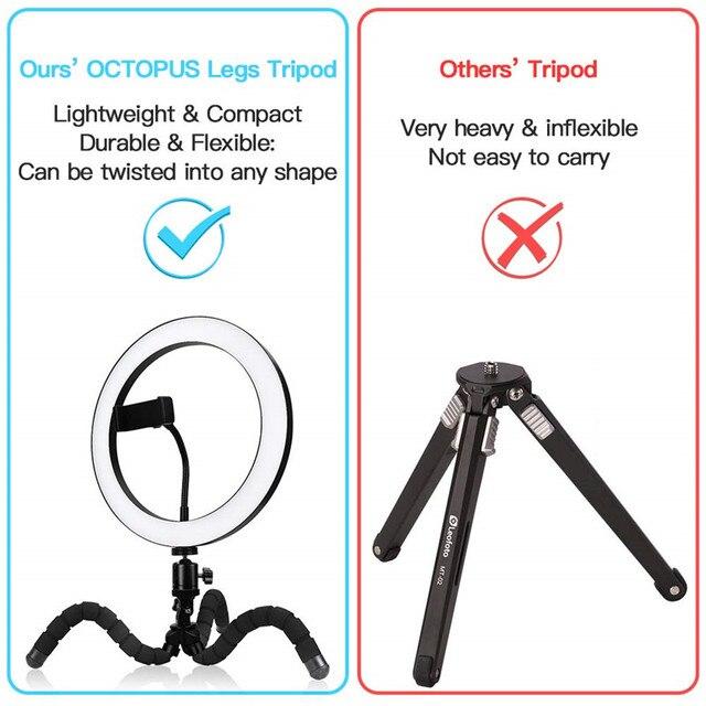Lumière annulaire de 9 pouces avec support de trépied Flexible support pour téléphone lumière Selfie à intensité variable télécommande sans fil pour YouTube/photographie/maquillage