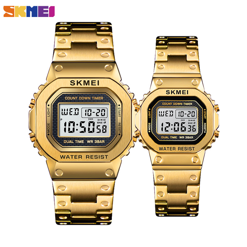 SKMEI Fashion Digital Watch Men Women Couple Wristwatches 2Time Chrono Watches Waterproof Horloges Vrouwen Mannen Wristwatch
