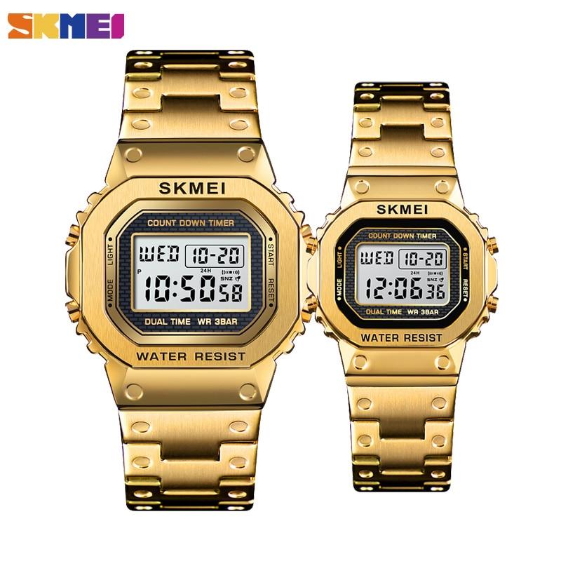 SKMEI Fashion Digital Watch Men Women Couple Wristwatches 2Time Chrono Watches Waterproof Horloges Vrouwen Mannen Wristwatch