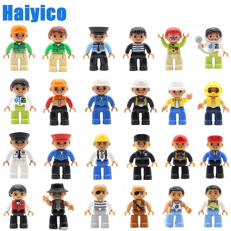 Clássico grandes partículas blocos de construção membro da família figura acessórios compatível duplos conjunto boneca cidade ocupação personagem brinquedos