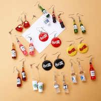 3UMeter 2019 New Korea Creative Earrings Cola For Women Bottle Earrings Cute Fun Earrings without Pierced Ear Clips Gift