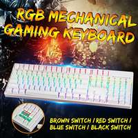 104 Key USB Wired RGB Backlit Gateron Switch PBT Double Shot Keycaps Mechanical Gaming Keyboard for E sport office PC Laptop