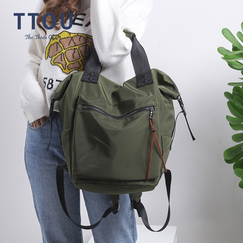 TTOU Casual Nylon Waterproof Backpack Women High Capacity Travel Book Bags For Teenage Girls Students Pink Satchel Mochila Bolsa