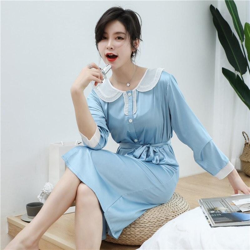 CAIYIER 2020 Silk Nightgown Sexy Lace Sleepwear Long Sleeve Turn-down Collar Night Dress Lingerie Bathrobe Gown Large Size M-3XL 3