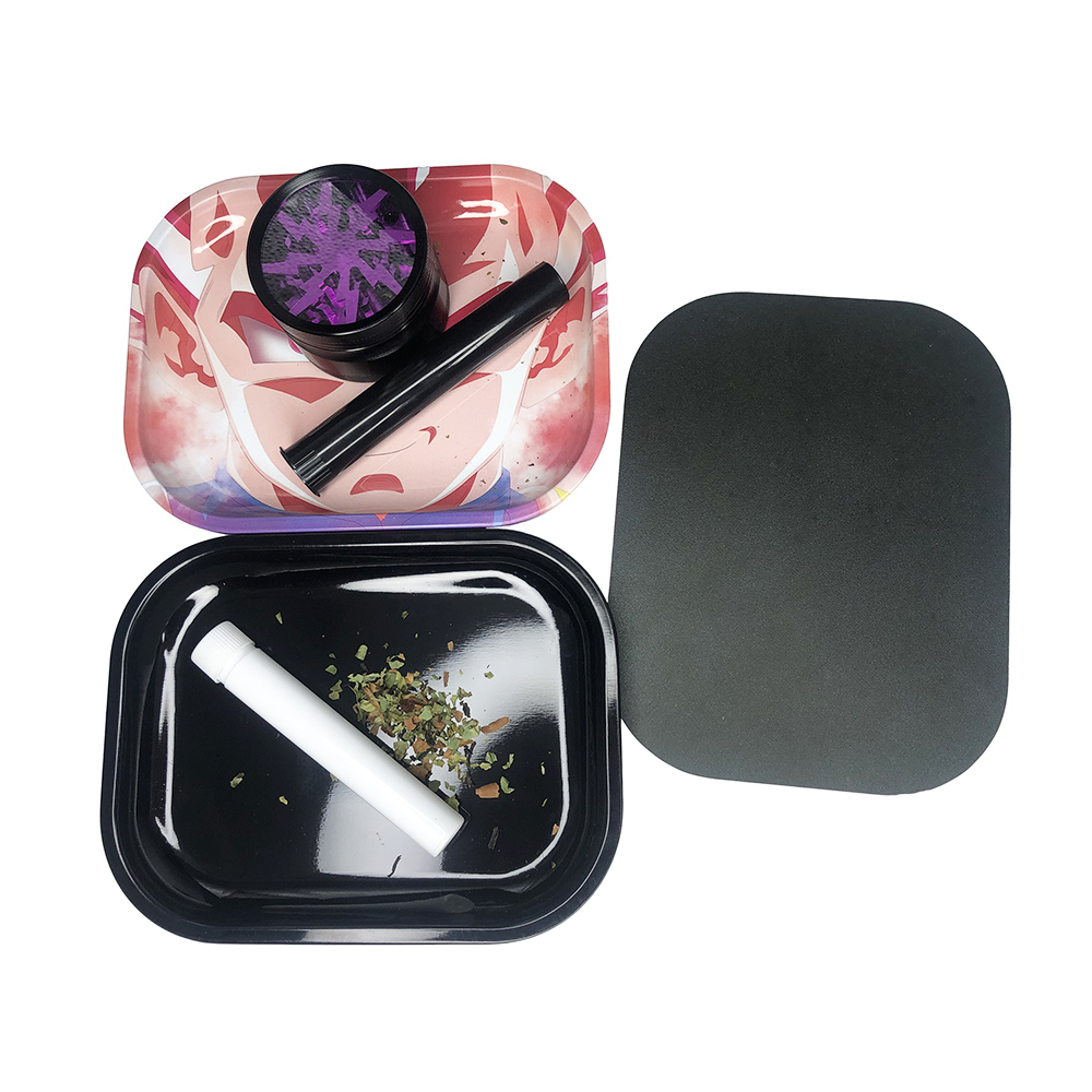18x14cm Rolling Tray Magnetic Lid Set Tobacco Herb Grinder Smoke Accessories Tin Metal Black Manual Cigarette Paper Roller Plate 4