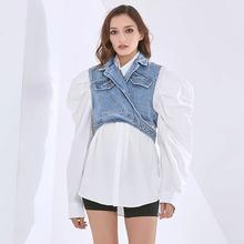 Женский элегантный комплект рубашки простой модный однотонный