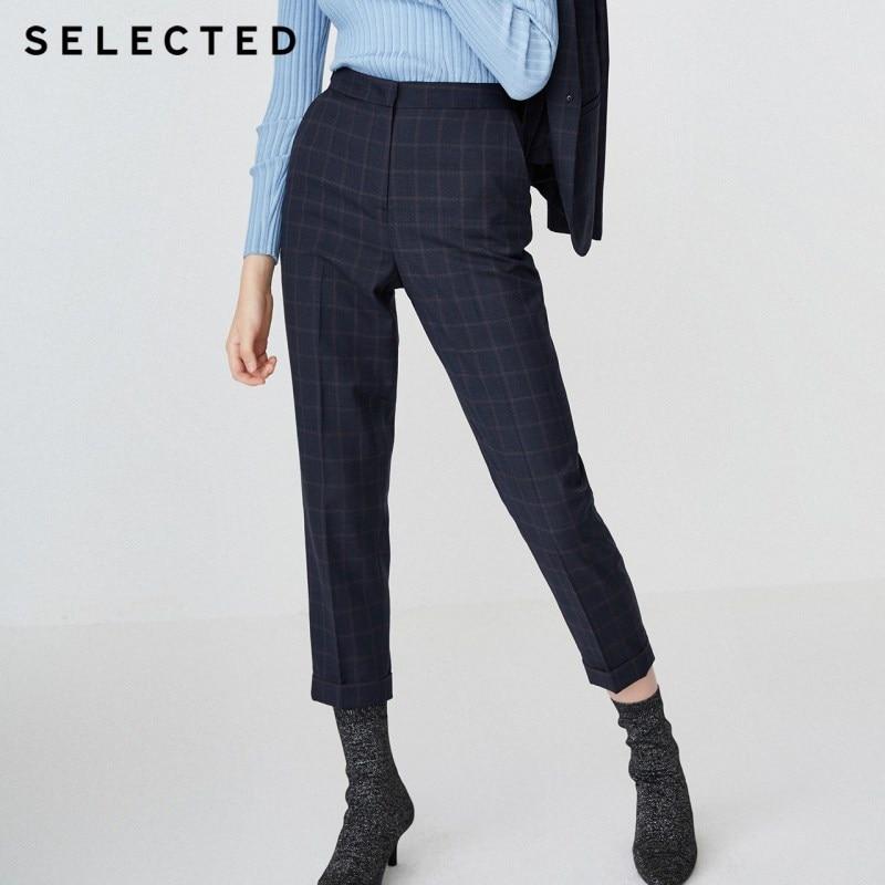 SELECTED Women's Wool-blend Plaid Casual Crop Pants SIG|418418504