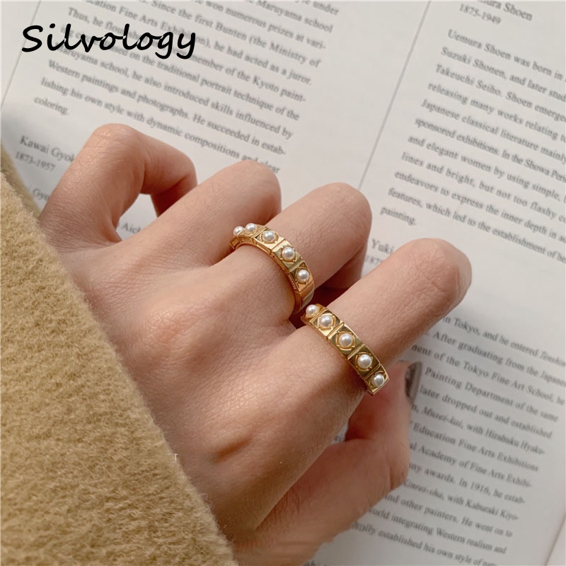 Silvology 925 Sterling Silver Square Pearl Rings Original Elegant Mori Style Rings For Women Festival Luxury Jewelry Designer