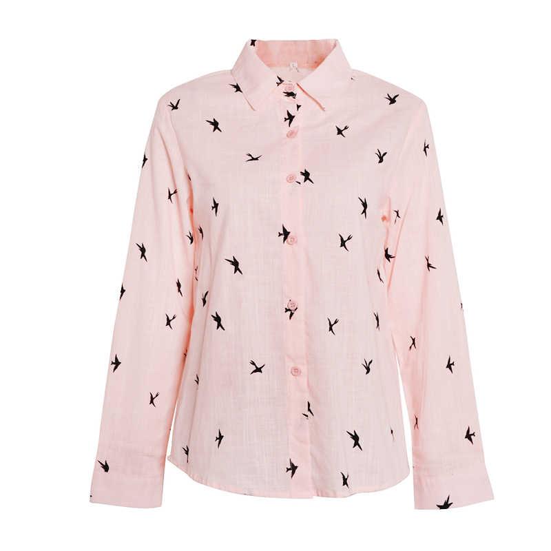 5XL 새 인쇄 35% 코 튼 여자 셔츠 단일 브레스트 턴 다운 칼라 여성 셔츠 2020 가을 느슨한 캐주얼 숙 녀 옷