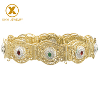 Morocco style classic gown wedding gold with colorful stone hollow pattern metal belt for women