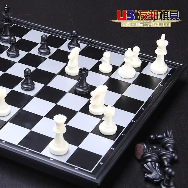 Jeu magnétique, grand jeu d'échecs pliant noir et blanc or et argent, jeu d'échecs 5