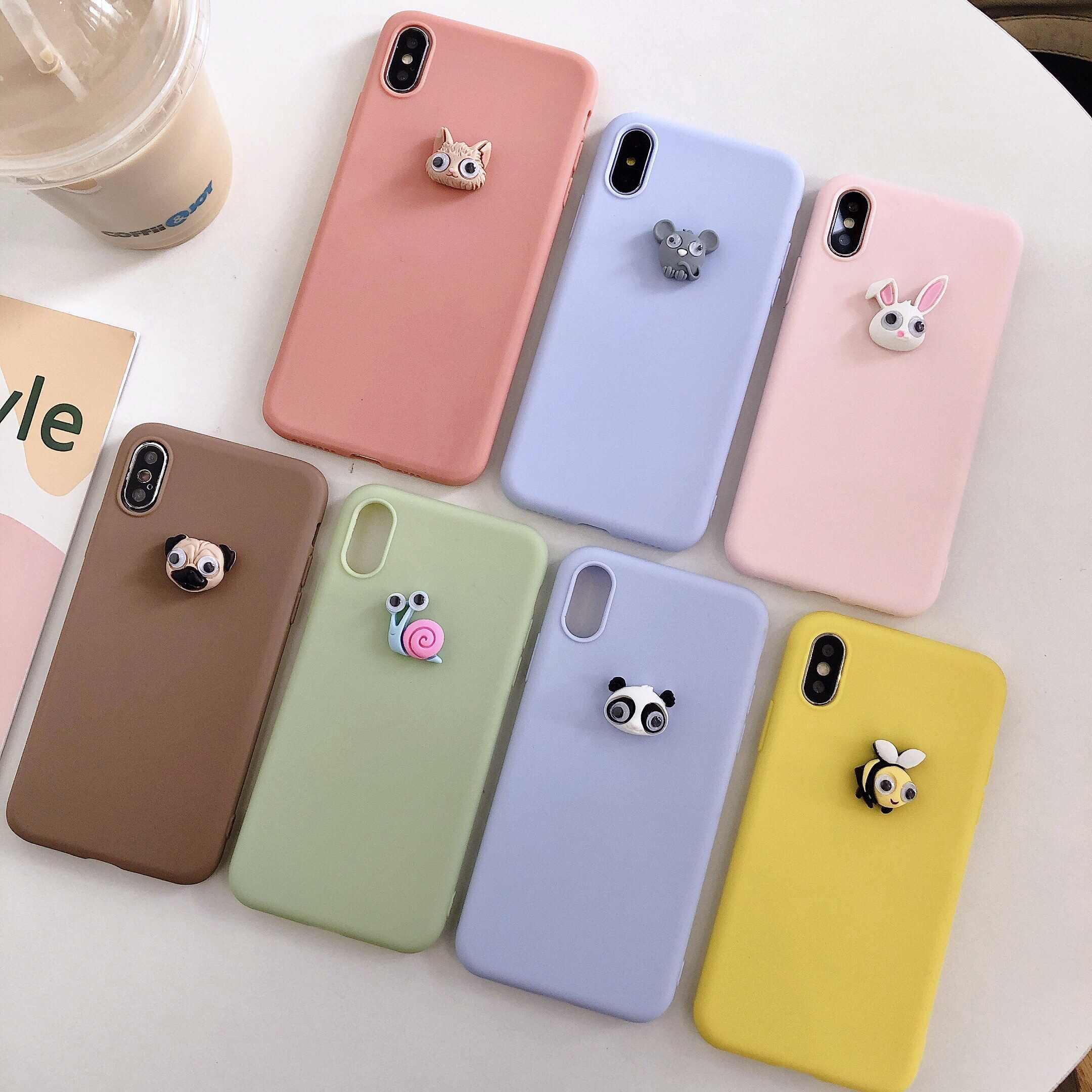 สำหรับiPhone 11 7 XR 11 Pro XS MAXพิซซ่าเค้กDIYสำหรับiPhone 7 6s 5 8 PLUS 3Dน่ารักสุนัขหมูแพนด้าหมีKawaiiนุ่ม