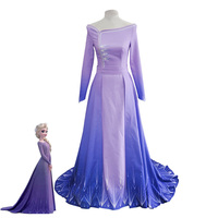 Movie Ice Snow Queen Elsa Purple Dress Adult Women Halloween Carnival Cosplay Costume Princess Elsa Outfits