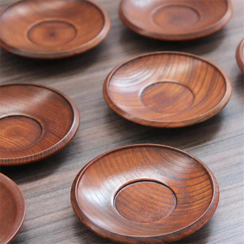 새로운 뜨거운 일본식 단단한 식기 나무 접시 그릇 디저트 과일 디저트 접시 현재 식기에 대한 둥근 모양