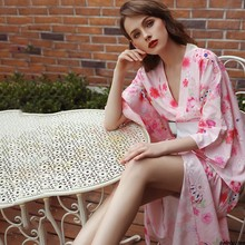 Sexy pink Japanese-style print kimono ancient robe bow perspective uniform temptation nightgown nightdress suit