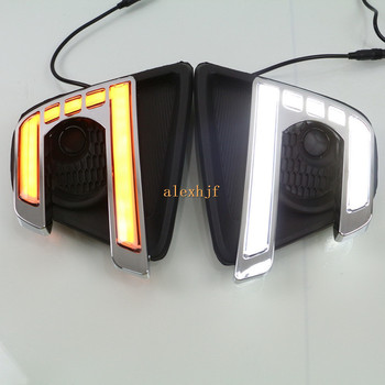 July King LED Light Guide Daytime Running Lights Case for Mazda CX-5 2013-2016, LED Front Bumper DRL With Yellow Turn Signals