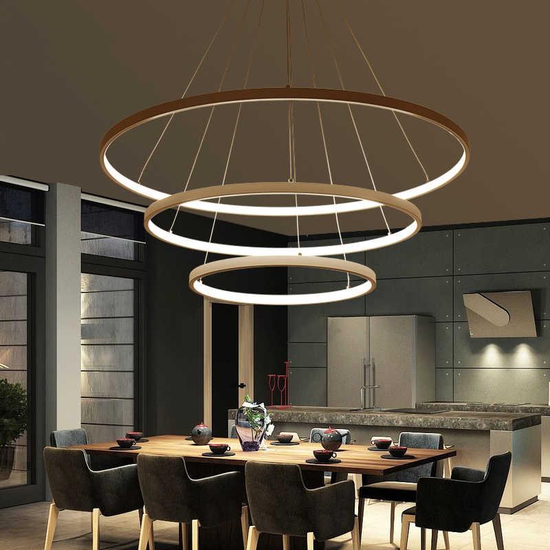 Современный светодиодный подвесной светильник для гостиной, столовой, белого, золотого, кофейного, черного, круглого кольца, алюминиевая лампа, Светильники для дома