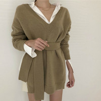 Women Autumn Knitted Sweater V Neck Long Sleeve Pullover Jumper Slim Waist Pull Femme Casual Sueter Mujer Truien Dames Jersey