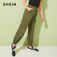 SHEIN Kiddie Army Green Solid Pocket Patched Girls Casual Cargo Pants Kids 2019 Autumn Elastic Waist Long Trousers For Chldren frill waist pocket patched pants