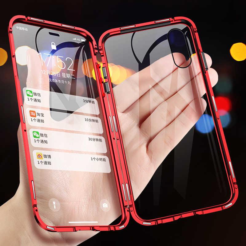 9H çift taraflı manyetik adsorpsiyon Metal cam iPhone için kılıf 11 Pro iPhone 7 8 XS Max XR X 6 tam koruyucu kapak Coque