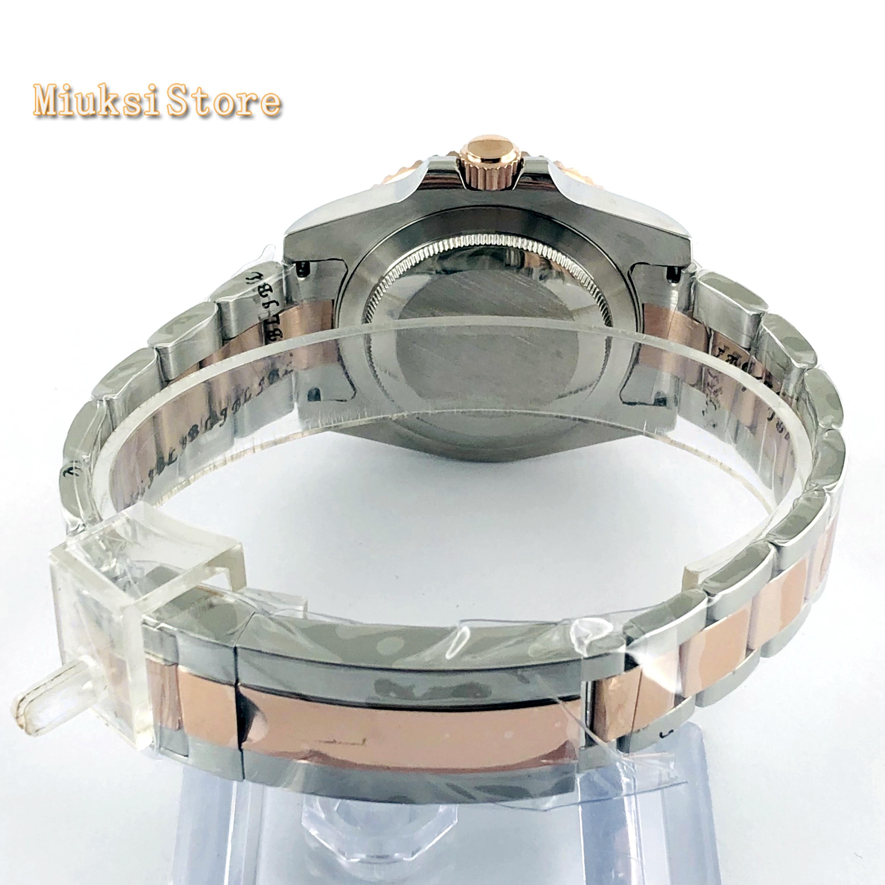 Bliger 40mm top mens negócios assista GMT black dial data vidro de safira painel de cerâmica janela luminosa relógio mecânico automático - 6