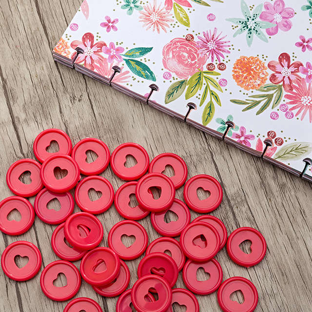 100PCS 23MM Heart-shaped Binding Dics Mushroom Binder Ring Notepad Plastic Loose-leaf Coil Plastic Disc Buckle Paper Clip Ring
