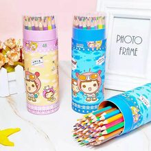 12/18/24/36/48 Color/bottle Cute Colored Pencils Cartoon Creative Drawing Wooden Colored Art Pencils(China)