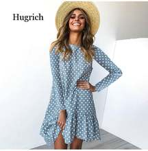 Весеннее модное платье в горошек женские повседневные платья
