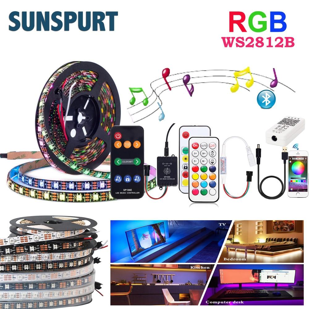 Светодиодный светильник WS2812B, смарт-пикселей, 1-5 м, 5 В, USB, RF, Bluetooth, музыкальный контроллер, адресуемый ТВ, лампа для шкафа, IP30/65/67