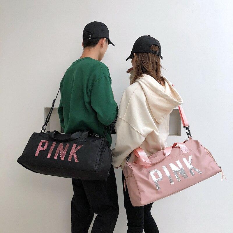 Image 4 - The latest design sequins PINK letter fitness bag dry and wet separation sports bag shoulder Messenger bag couple handbag travel-in Gym Bags from Sports & Entertainment