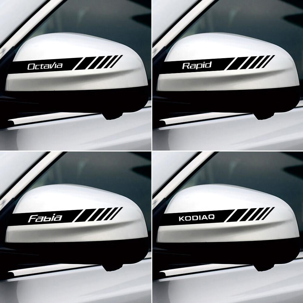 2PCS Car Rearview Mirror Decoration Sticker Body Decal For Skoda Octavia Rapid Fabia Superb Kodiaq Scala Karoq Kamiq Accessories