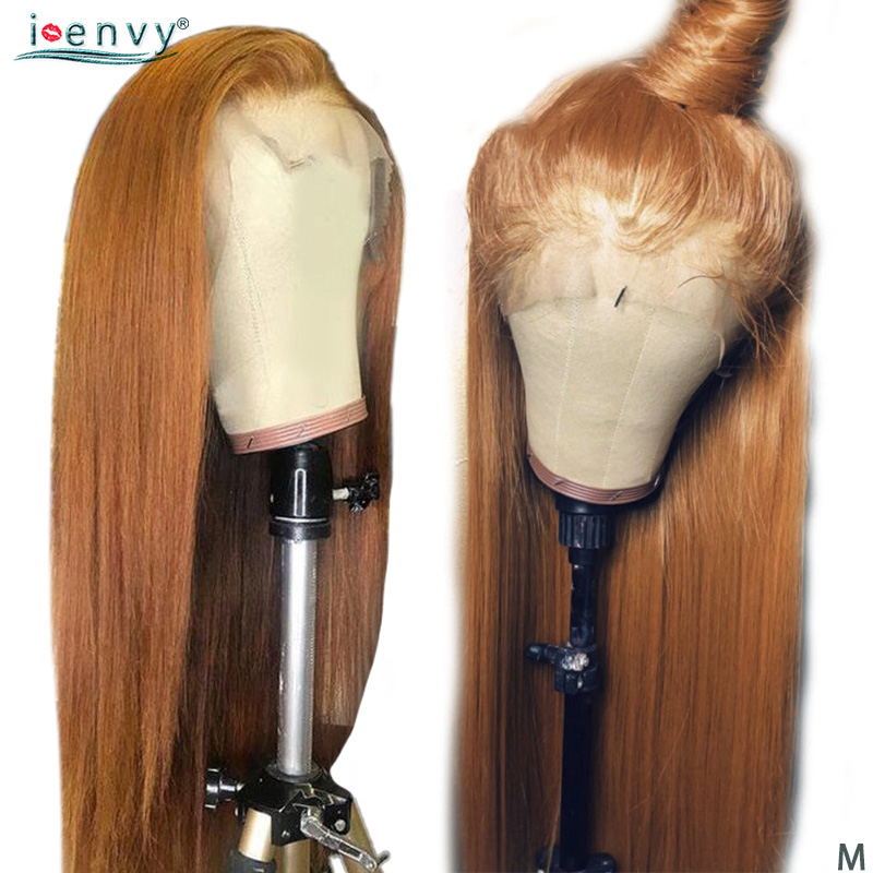 Perruque avant de dentelle Blonde d'or perruques de cheveux humains brésilienne droite 13x4 perruque avant de dentelle pré-plumée 150 densité perruques de dentelle colorées non-remy