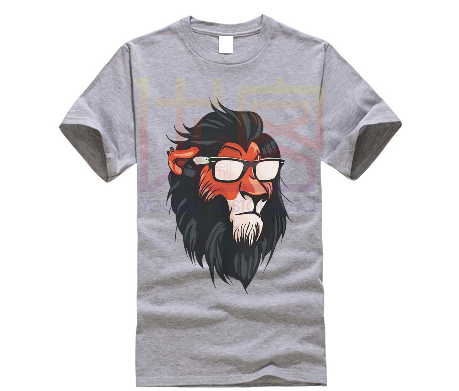 Lion King Scar In Glasses T-Shirt, Funny Disney Shirt, All Sizes Newest 2019 Summer Men T-Shirt Fashion O Neck Cotton Tees Tops
