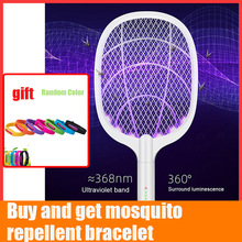 Mosquito Swatter Zapper Insect Racket Killer Tennis Fly Electric Rechargeable Bat Led-Light