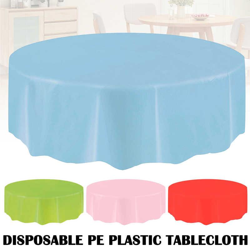פלסטיק עגול שולחן בד כיסוי חד פעמי מסיבת בית לנגב נקי מפת Dropshipping FAS