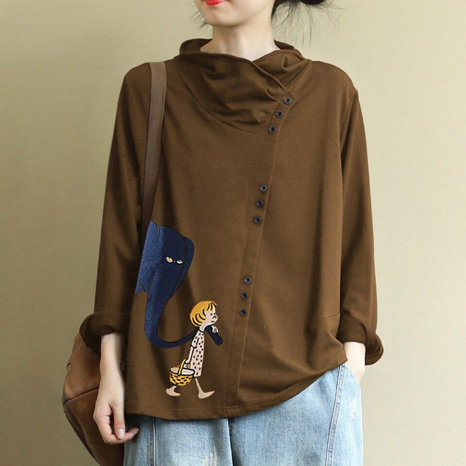 2020   Retro Art Casual Print Cartoon Girl High Collar  Shirt Top