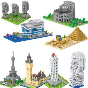 Mini Architecture blocks pyramid model building kits Leaning Pisa Eiffel Tower Big Ben micro bricks expert sets Rome Colosseo