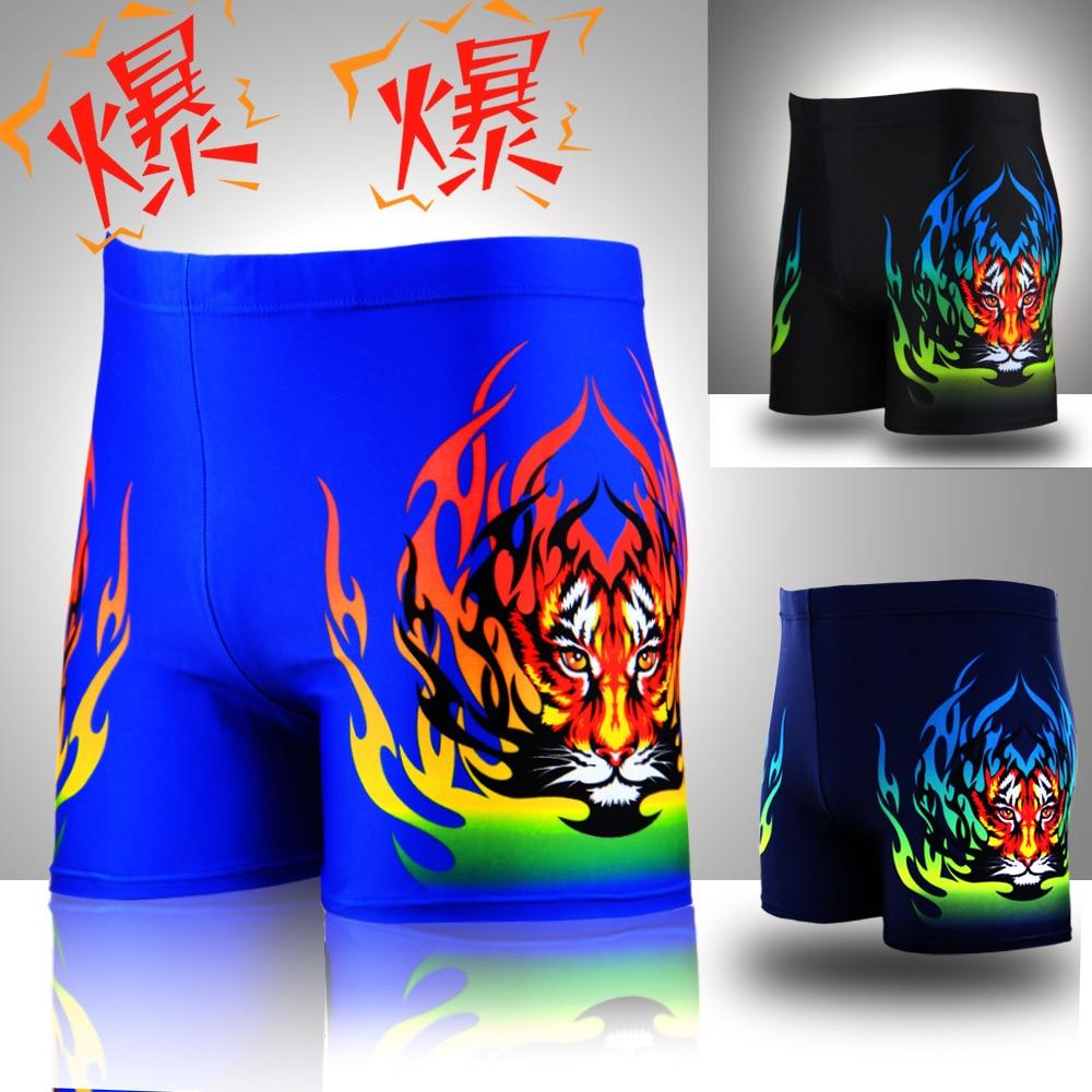 Factory Price Boxer MEN'S Swimming Trunks New Style Tiger Printed Waterproof Hot Springs Swimwear Men's Loose-Fit Bathing Suit