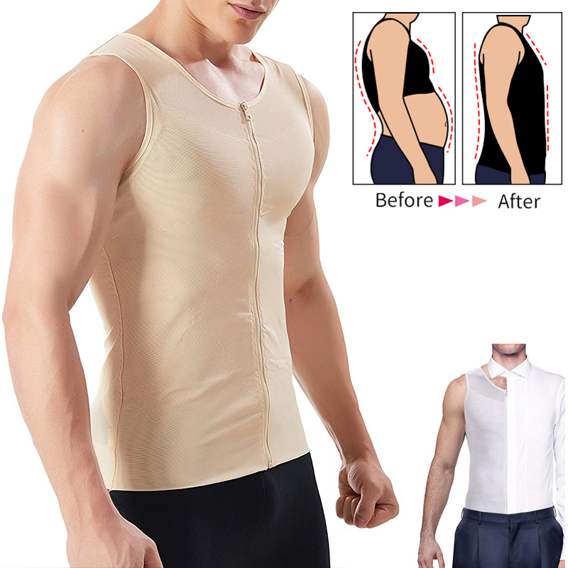Mens Slimming Underwear Girdle Male Corset Shirt for Man Boobs Gynecomastia Vest
