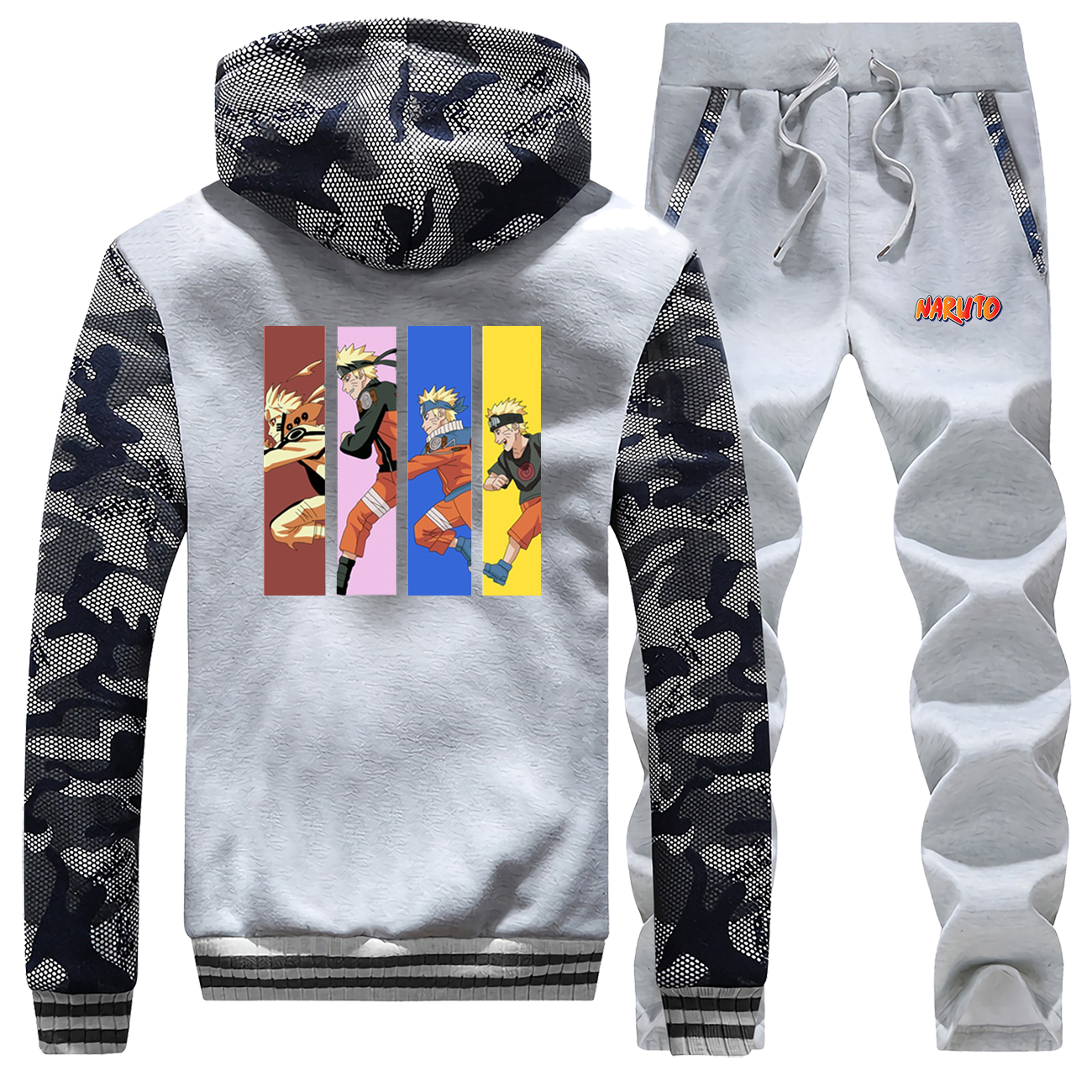 New 2019 Winter Japan Anime Naruto Mens Hoodie Sweatshirt Coat Thick Hip Hop Camouflage Warm Jackets Suit+Pants 2 Piece Set