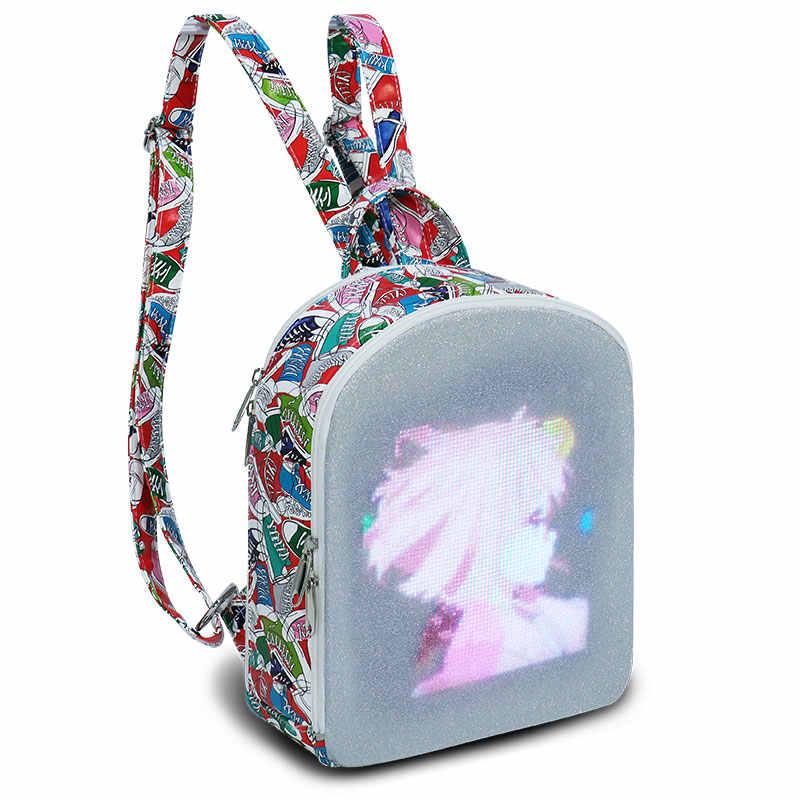 Edison led mochila feminina cidade elf display led tela mochilas inteligente versão wifi app controle de luz tela saco
