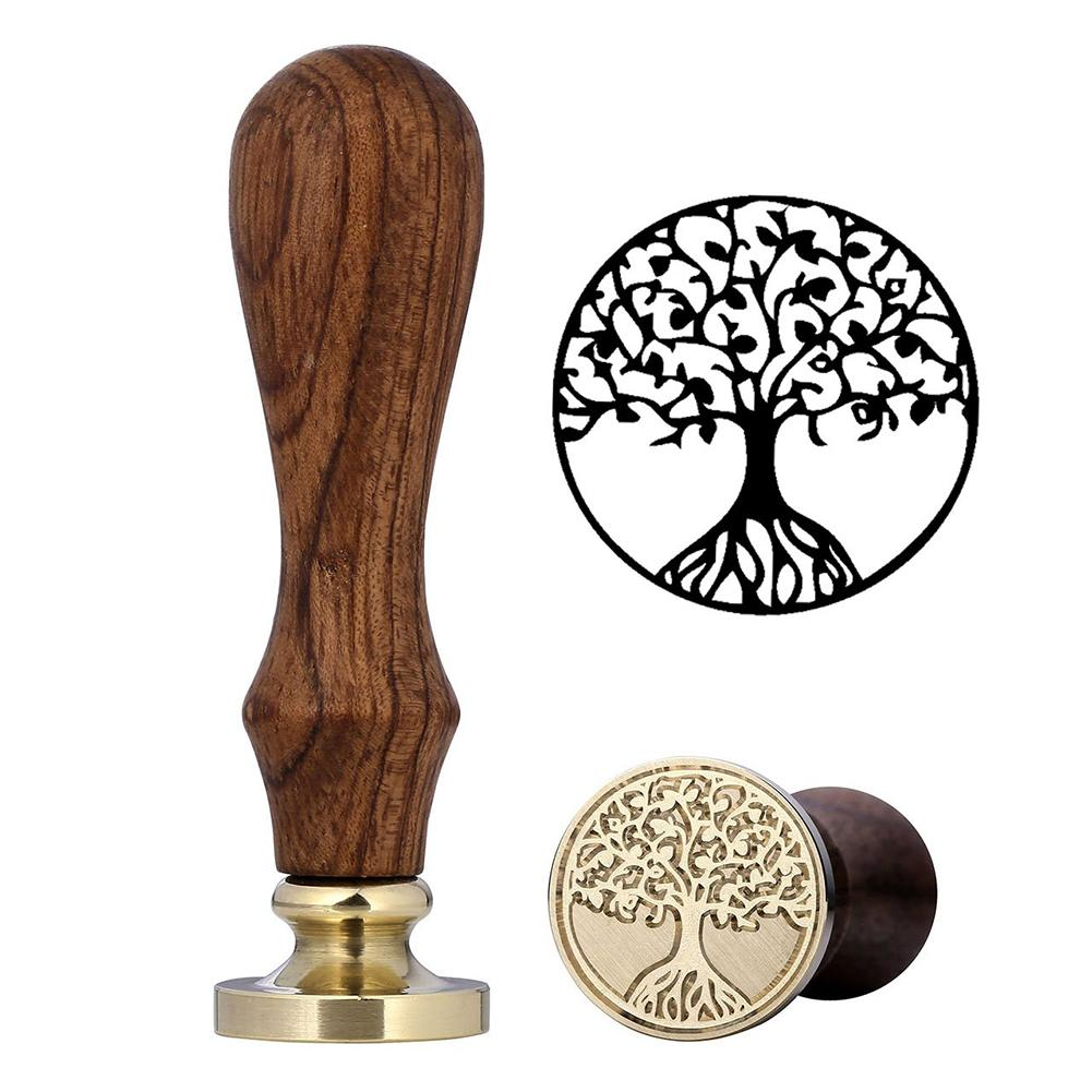 Wax Seal Stamp Kit Life Tree Set Star Sealing Beads with Melting Spoon Candles for Decoration Collection