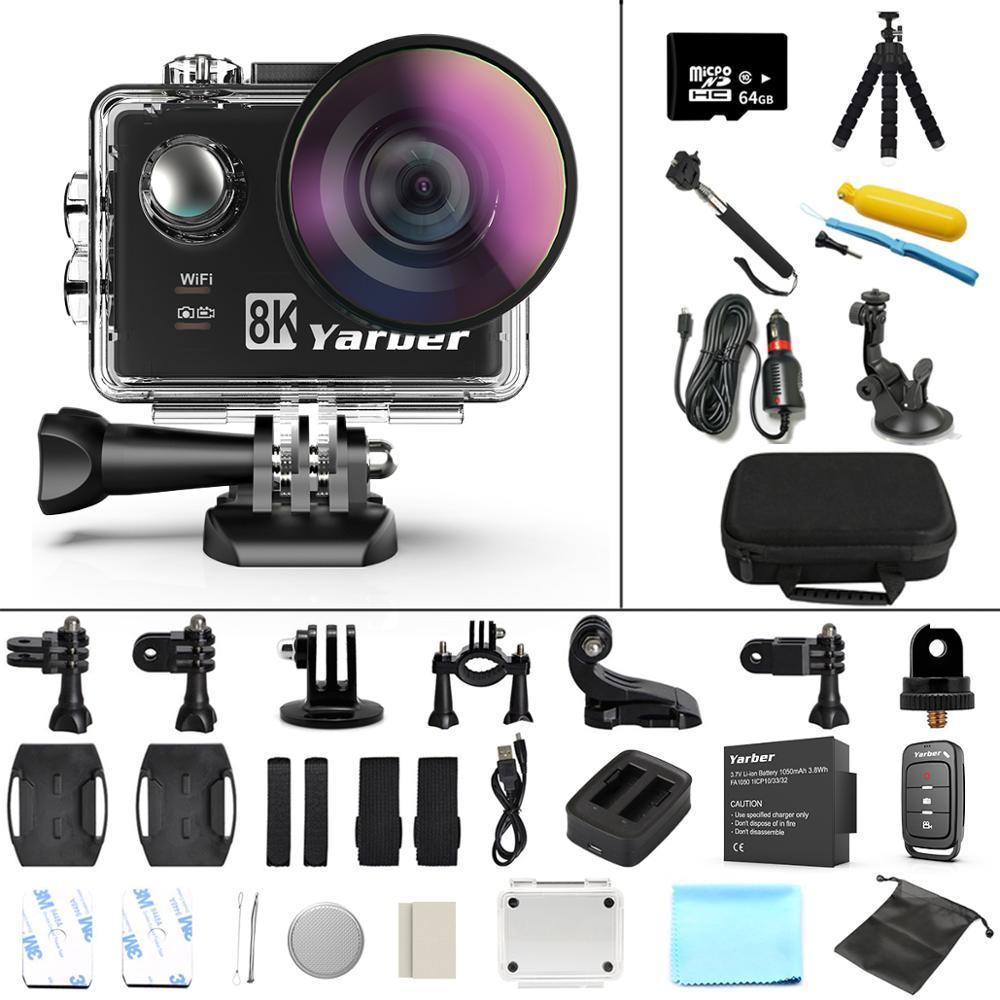 Yarber 8K Sports Action Camera 4K 40M Underwater Waterproof WIFI Bicycle Helmet Camara 20MP Action Cam