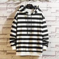 Men Casual Autumn&Winter striped(black white) Hoodies Long Sleeve Sweatshirt Outwear Coat Loose large size Hoodie off white