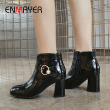 ENMAYER 2019 Winter Boots Women Pointed Toe Slip-On Basic PU Ankle Boots for Women Hoof Heels Short Plush Womens Shoes 34-43 цены онлайн