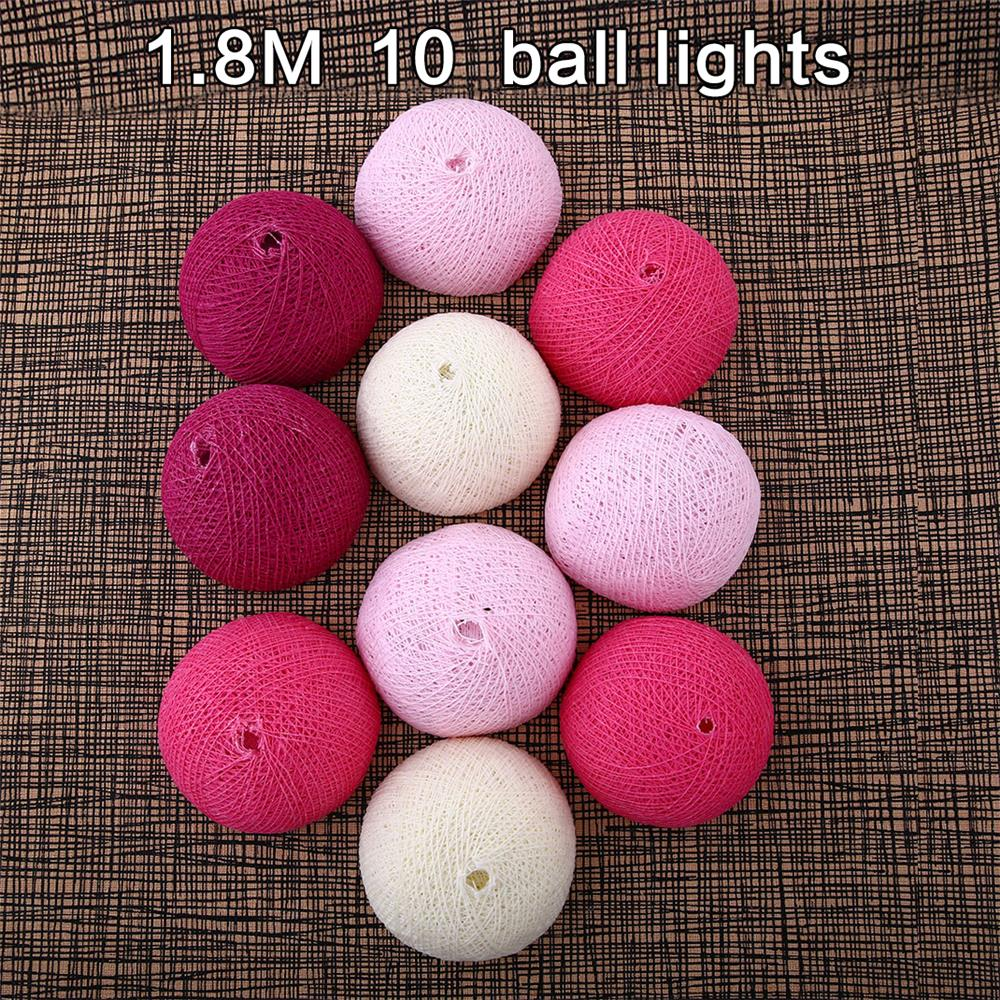 LED String Lights Wedding Gifts Outdoor Holiday Lighting Indoor Party Decor Xmas 10 Ball Cotton 220V 1.8 M Fairy Pink White