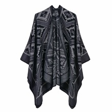 Amazon Hot Selling LadiesNew Large-Brand Geometric Diamond Shawl Imitating Cashmere Travel Open-Forked Cloak
