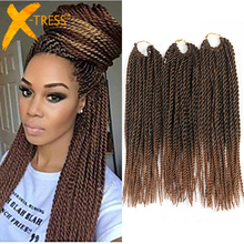 "Ombre Brown Color Synthetic Senegalese Twist Braiding Hair Extensions X TRESS 12"" 27 Roots Low Temperature Fiber Crochet Braids"
