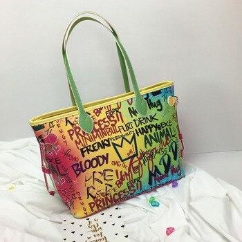 Letter Print Women Tote Travel bags Fashion Multiclor Shoulder Bags Female High-Capacity Laptop Bag Designer Handbag Summer 2020 цена 2017